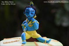 Little Krishna, Fondant Rose, Cake Creations, Cake Art, Art Work, Polymer Clay, Disney Princess, Toys, Artwork