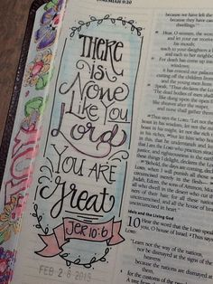 """Jer 10:6 - """"There is none like You"""" - Bible Journaling by Nola Pierce Chandler"""
