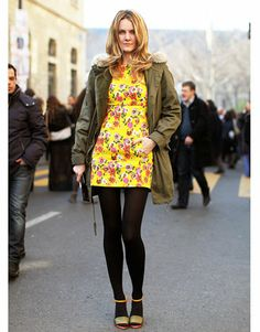 Paris Street Style - army jacket & floral dress