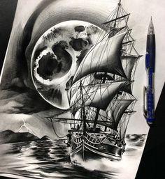 Finished up this #ship and #moon #tattoo #tattoospooky #blackandgrey #pencil #work #graphite #art #artoftheday #artist #artgallery…