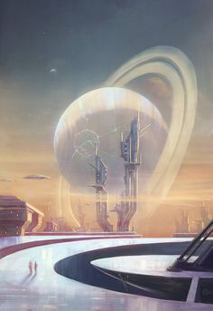 Station on the sixth moon of Saturn, Eva Kosmos Space Fantasy, Sci Fi Fantasy, Landscape Concept, Fantasy Landscape, Zooey Deschanel, Saturns Moons, Cyberpunk City, Supernatural, Alien Worlds