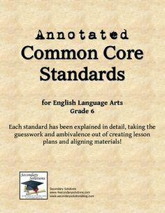 Common Core ELA Grade 6 Explained FREE!