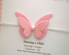 Diadema mariposa bebé venda, venda del bebé de la mariposa, fieltro diadema, diadema de fieltro mariposa, recién venda, venda de niño
