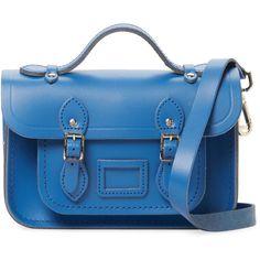 "The Cambridge Satchel Company Women's Mini Leather 8.5"" Satchel - Blue (375 ILS) ❤ liked on Polyvore featuring bags, handbags, blue, satchel purses, leather purses, genuine leather handbags, mini satchel handbags and handbag satchel"