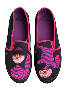 Disney Alice In Wonderland Cheshire Cat Slip-On Sneakers, , alternate Black Slip On Sneakers, Slip On Shoes, Men's Sneakers, Sneakers Women, Custom Sneakers, Black Shoes, Hand Painted Shoes, Painted Toms, Painted Canvas