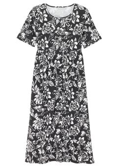 Plus Size Petite dress with button front, empire waist image