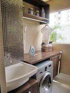Construindo Minha Casa Clean: 35 Ideias de Lavanderias e Áreas de Serviço Decoradas! Laundry Decor, Laundry Room Design, Small Laundry, Laundry Area, Small Apartments, Living Room Designs, Sweet Home, New Homes, Home Appliances