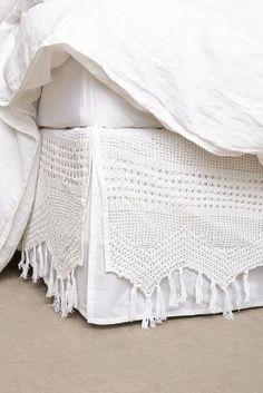 Anthropologie Fringe Crochet Bedskirt #anthroregisrty