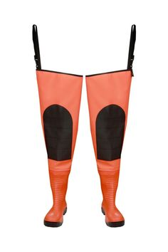 """WATERPROOF WADERS """"MAX S5"""" FLUO Model: WRM02 FLUO The thigh waders have been produced with high quality PVC Safety boots S5 type welded in - steel toe cap and steel midsole. The model has knee-protection. Thigh waders have been made on waterproof strong fabric Plavitex Heavy Duty Fluo. It's a good protection against water. The product is recommended to be used in every place where visibility is limited. High frequency welding makes seams stronger."""