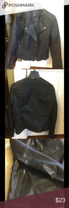 Faux leather motto jacket size medium Fabulous faux leather motto jacket.  This jacket totally feels like the real deal.   I love it but have only worn it once, and in the interests of keeping my hubby happy am listing it to help clear out my closet.  Black. Cool zipper and stitching detailing.  Hand washable.  Let me know if you gave any questions. Be sure to check out my closet...I have a fabulous bundle discount...20% off three or more items. Forever 21 Jackets & Coats