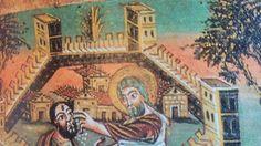 Cette scène de la vie de Vivien enluminée à Tours en 846 nous donne une idée de ce que pouvait être les rues de cette époque là.