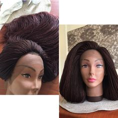 Braided Wig (Lace Front) - Micro Twists (Color 33/35) - Ready to Ship  #braids # boxbraids #ombre # blackhair #protectivestyle  #afro #kinky #braidedwig