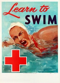 Learn to Swim 1950s - original vintage poster by Holmgren for the American National Red Cross listed on AntikBar.co.uk #LearnToSwimDay