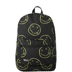 Nirvana Smiley Backpack | Hot Topic ❤ liked on Polyvore featuring bags, backpacks, pattern backpack, backpacks bags, print bags, padded bag and padded backpack