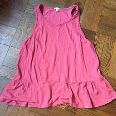 Peplum tank Soft yummy and worn in, heathered look! Raw edge finishes and a soft peplum with a little more gathering on the sides to complement any shape! Never worn! GAP Tops Tank Tops
