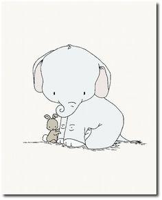 Elefant-Kinderzimmer-Kunst Elefanten und Hasen Set von 3