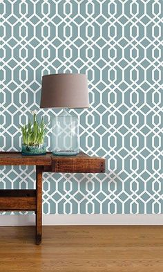 Montauk Lattice Hemlock Blue L And Stick Wallpaper