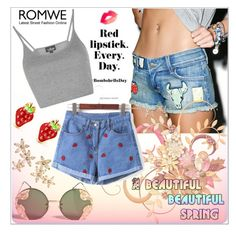 """""""Strawberry Shorts - Romwe Contest"""" by selmagorath ❤ liked on Polyvore featuring Bonheur, Siwy, Spitfire, Topshop, shorts, romwe and packforcoachella"""