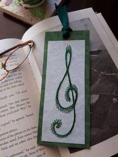 Musical Treble Clef Bookmark in Green Metallic Thread Mark
