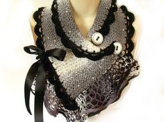 Scarf cowl with buttons knit crochet capelet Victorian steampunk goth.