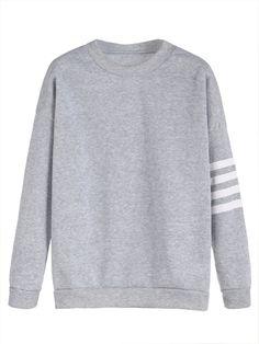 Light Grey Sleeve Striped Dropped Shoulder Seam Sweatshirt Mobile Site