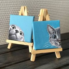Two Tiny cat paintings, cute cats, small canvas, Tiny easels