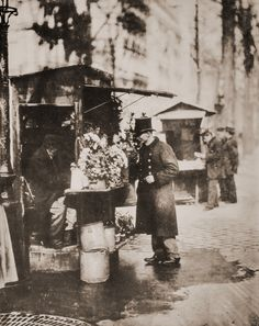 Flower stand, Paris, 1900s photo by Eugène Atget