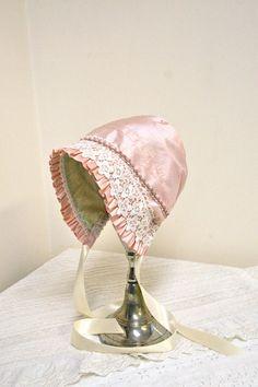 Elegant Pink Silk and Velvetine baby bonnet-- vintage baby, photo prop, hat, childrens clothing, antique style bonnet, toddler, green, girl