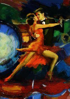 Jazz Painting - Flamenco Dancer 029 by Catf