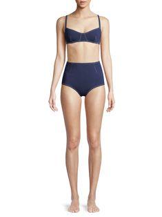 Jonathan Simkhai Darted High-Waist Bikini Bottom - Midnight Combo X-Small
