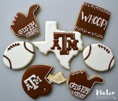Texas A&M Aggie Decorated Cookies (Gig Em, Whoop, Football, Helmet) mateocookieco.com