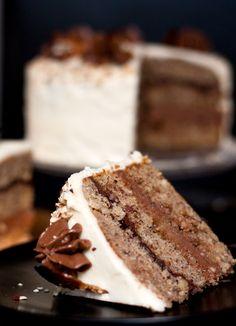 Roasted Hazelnut Nutella Layer Cake with White Chocolate Caramel Frosting