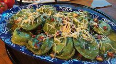 Sorrentinos verdes de calabaza y mostaza