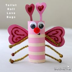 Toilet Roll Love Bugs for Valentine's Day - cute Valentine's day craft with paper roll!