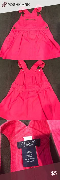 Chaps pink overall dress Jean overall dress Chaps Bottoms Skirts
