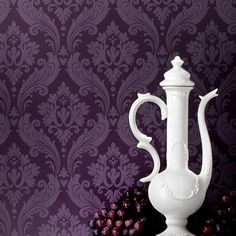 Vintage Flock Wallpaper by Kelly Hoppen - Purple Damask Wall Coverings by Graham  Brown