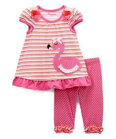 970f3f866a1c Nannette Kids Pink   Coral Stripe Flamingo Swing Top   Pink Dot Leggings -  Infant
