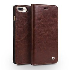 Handmade Genuine Leather Flip Wallet Ultra Thin iPhone 7 Plus Luxury Case w/Cover