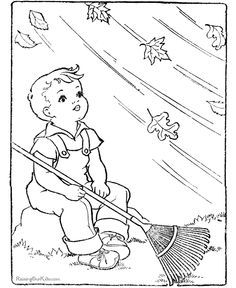 Boy Too Windy To Rake Fall Coloring Pages