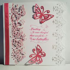 6x6 - Memory Box - Kensington Border - Tonic Butterflies - Pink and White