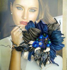 """Купить Броь из кожи """" Маргарита"""" - комбинированный, брошь из кожи, украшения из кожи, цветы из кожи"""