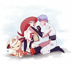 Team Rocket after the crash landing. I always wondered how they were after the nasty falls after almost every episode