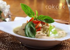 """Kaeng khiao wan kai"" Green curry #chicken ; coconut milk, aubergine, kaffir lime leaves"