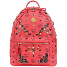 MCM Small Stark Studded Backpack ($795) ❤ liked on Polyvore featuring bags, backpacks, backpack, red, mcm bags, laptop rucksack, leather knapsack, studded backpack and leather studded backpack