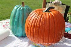 Beautiful Turquoise (and Red & Gold! Brave Girl, Painted Pumpkins, Girls Club, Garden Crafts, Easy Crafts, Fall, Autumn, Pumpkin Pumpkin, Halloween