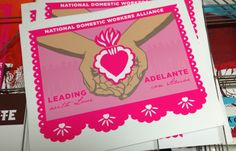 great posters from DignidadRebelde.com - love the papel picado border and the vivid pink (as well as the message)