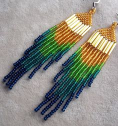 Ombre seed bead earrings transitioning from gold to blue