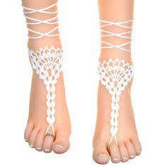 Sandalias pies descalzos de ganchillo patrón por LassCrochet                                                                                                                                                                                 Más
