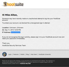 Watch for HootSuite Security Emails