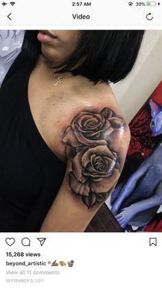 Mommy Tattoos, Girly Tattoos, Badass Tattoos, Rose Tattoos, Body Art Tattoos, Dope Tattoos For Women, Black Girls With Tattoos, Chest Tattoos For Women, Cute Shoulder Tattoos